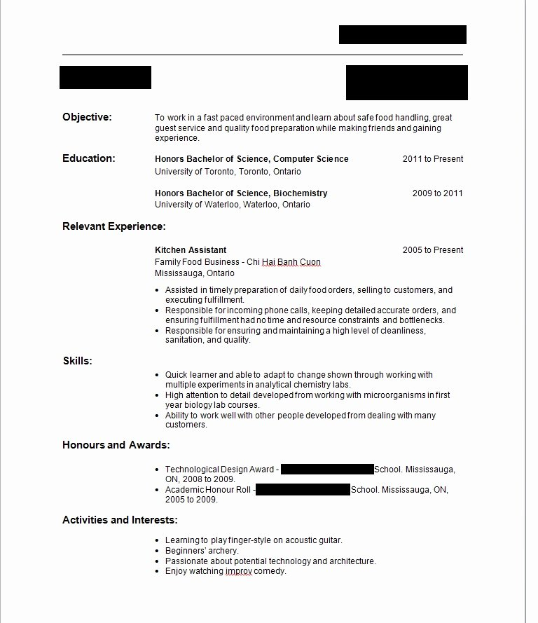 First Job Resume No Work or Volunteer Experience Have