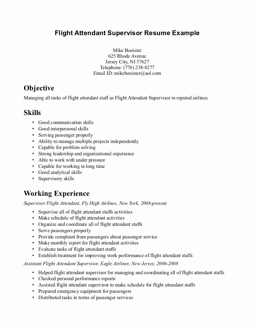 First Time Flight attendant Resume – Perfect Resume format