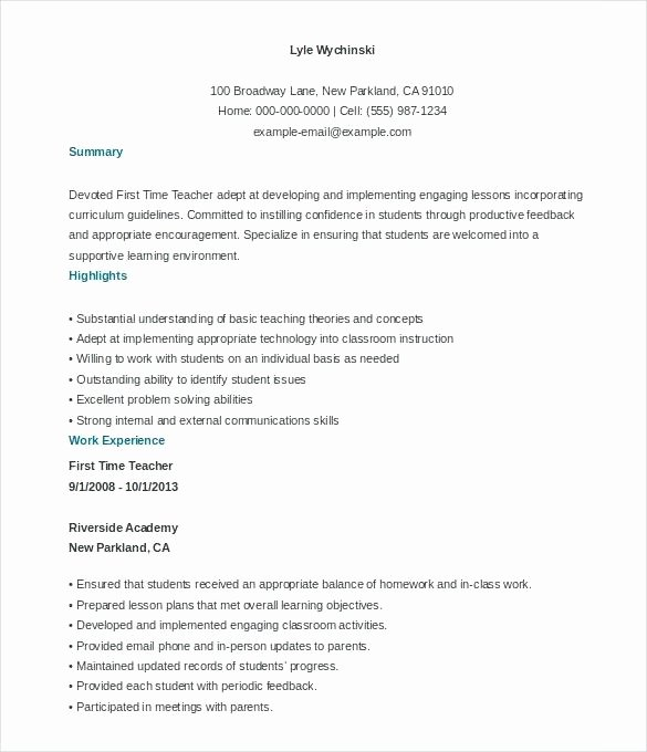 First Time Resume Template – orlandomoving