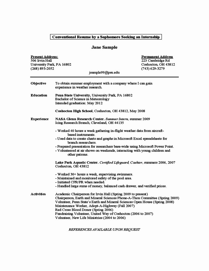 First Year Student Resume Best Resume Collection