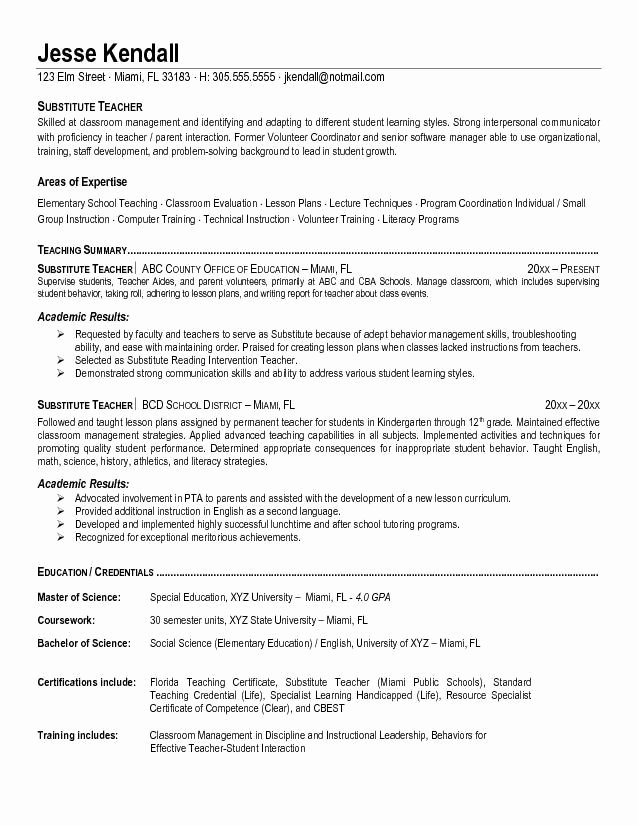 First Year Teacher Resume Template Best Resume Collection