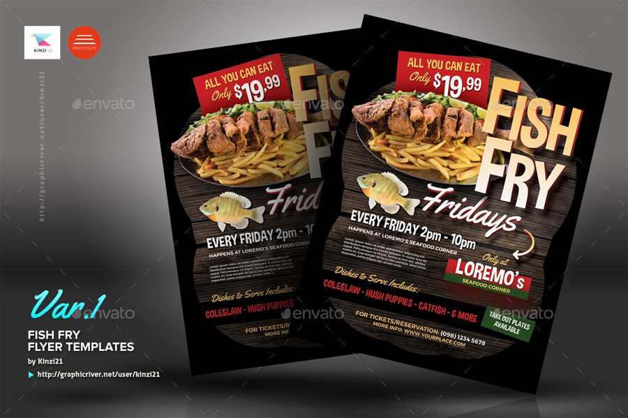 Fish Fry Flyer Templates by Kinzi21
