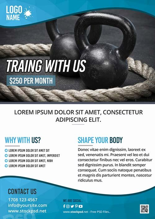 Fitness Training Gym Free Flyer Template Download for