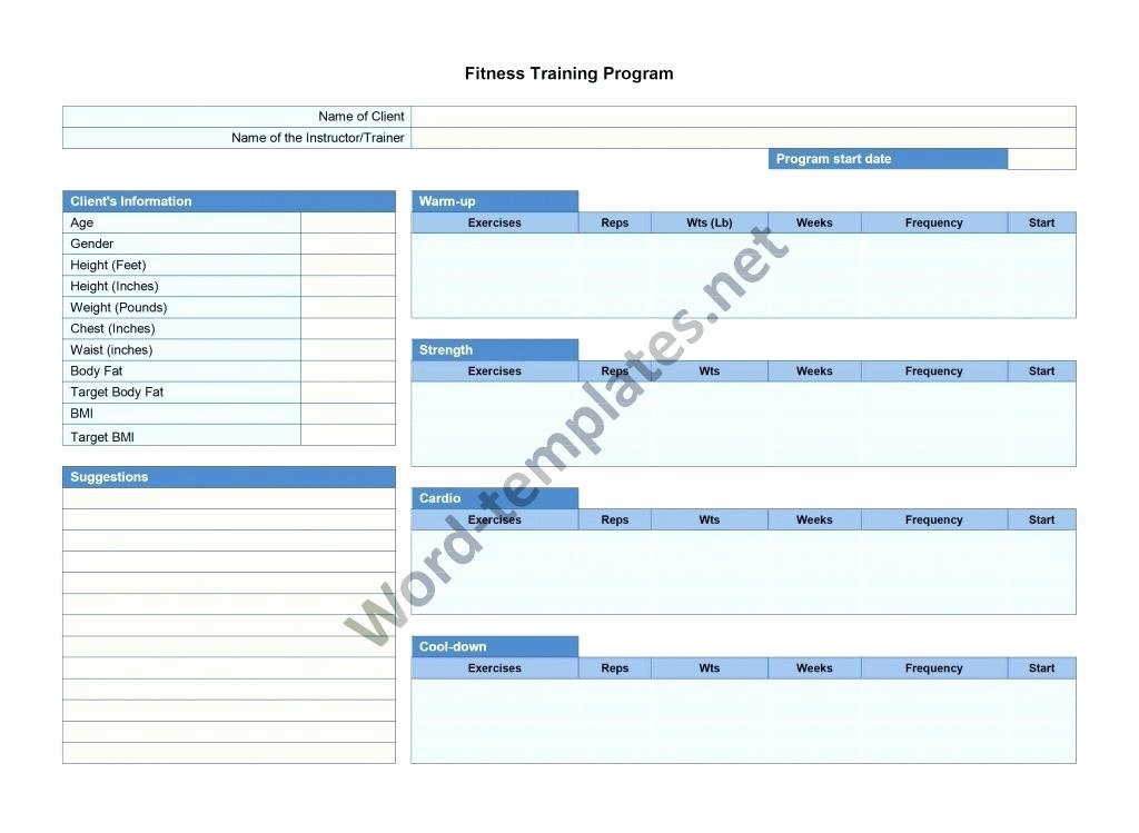 Fitness Training Plan Template Free – Template Gbooks