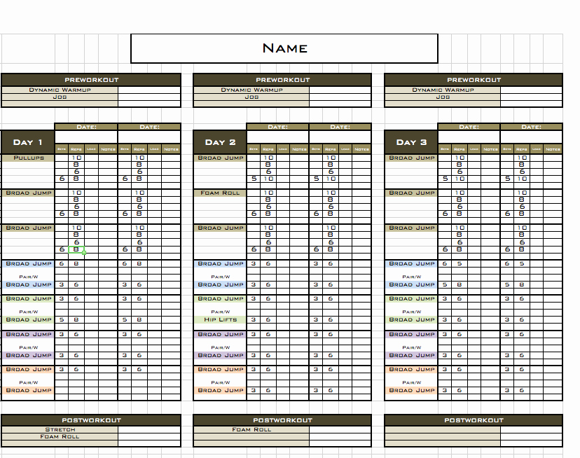 Fitness Training Plan Template