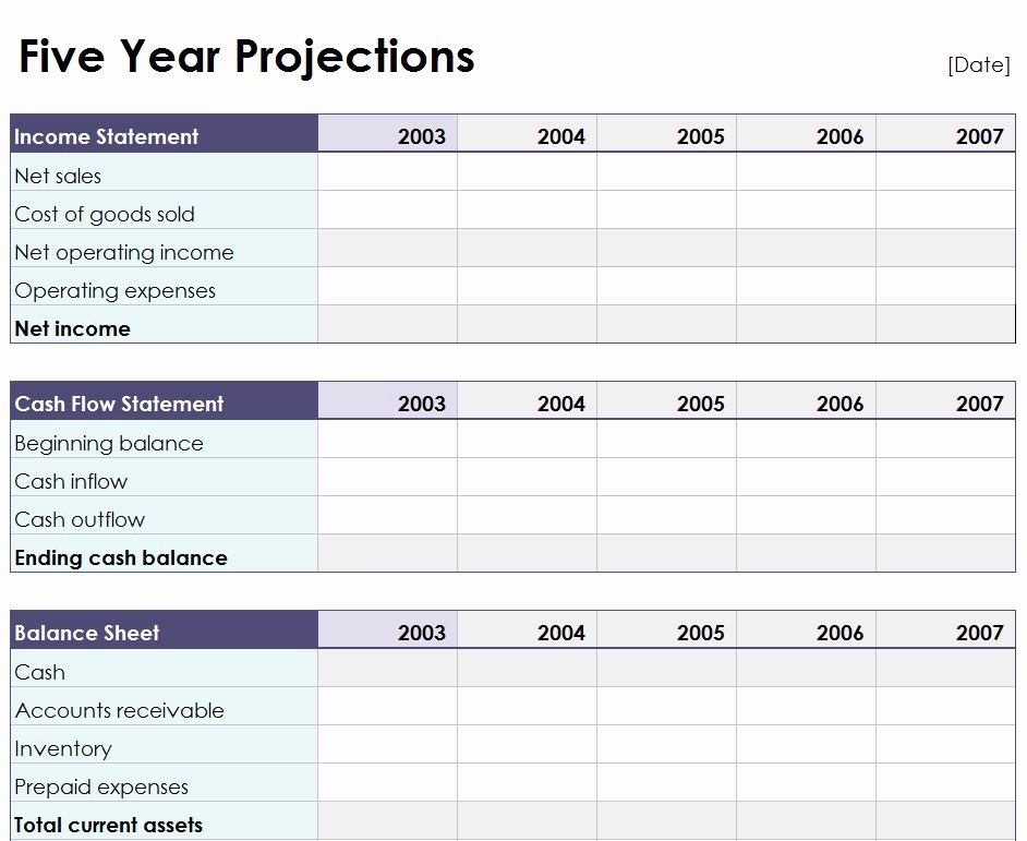 Five Year Projection Worksheet