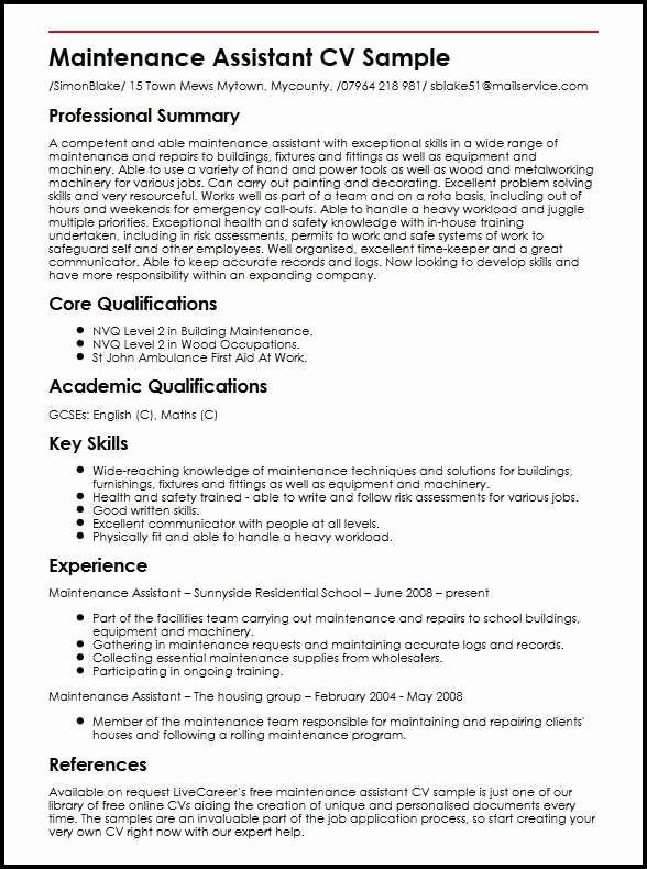 Fix My Resume for Free Beautiful Resume for Maintenance