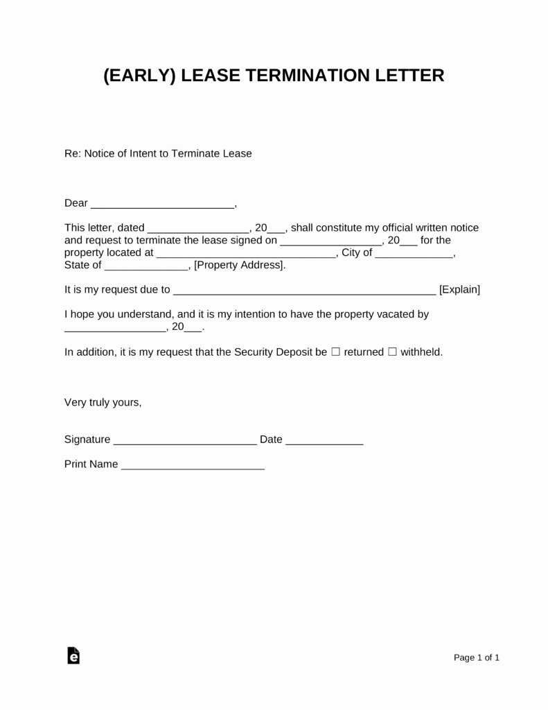 Fixed Lease Termination Letters