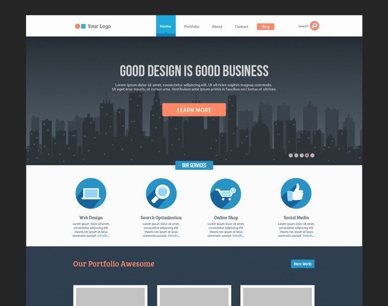 Flat Business Website Template Free Psd
