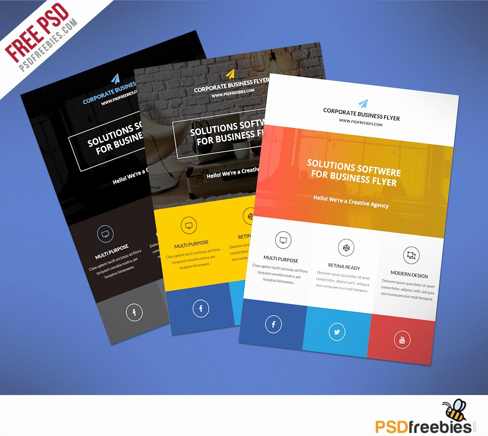 Flat Clean Corporate Business Flyer Template Free Psd