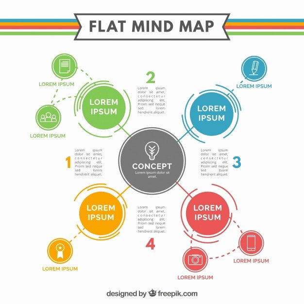 Flat Mind Map Template Vector