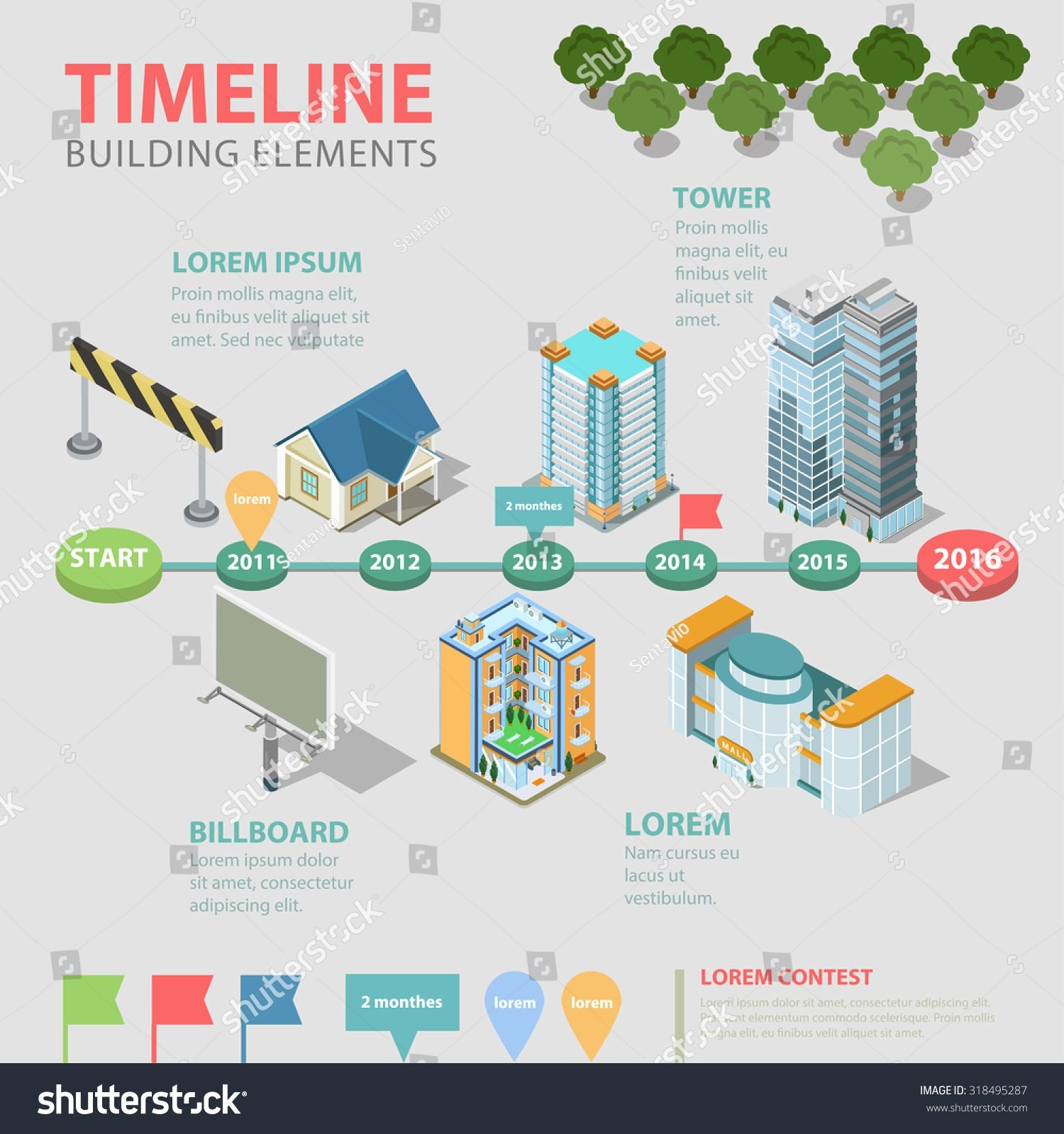Flat Style 3d isometric thematic Timeline Stock Vector