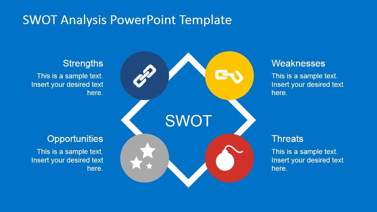 flat swot analysis powerpoint template