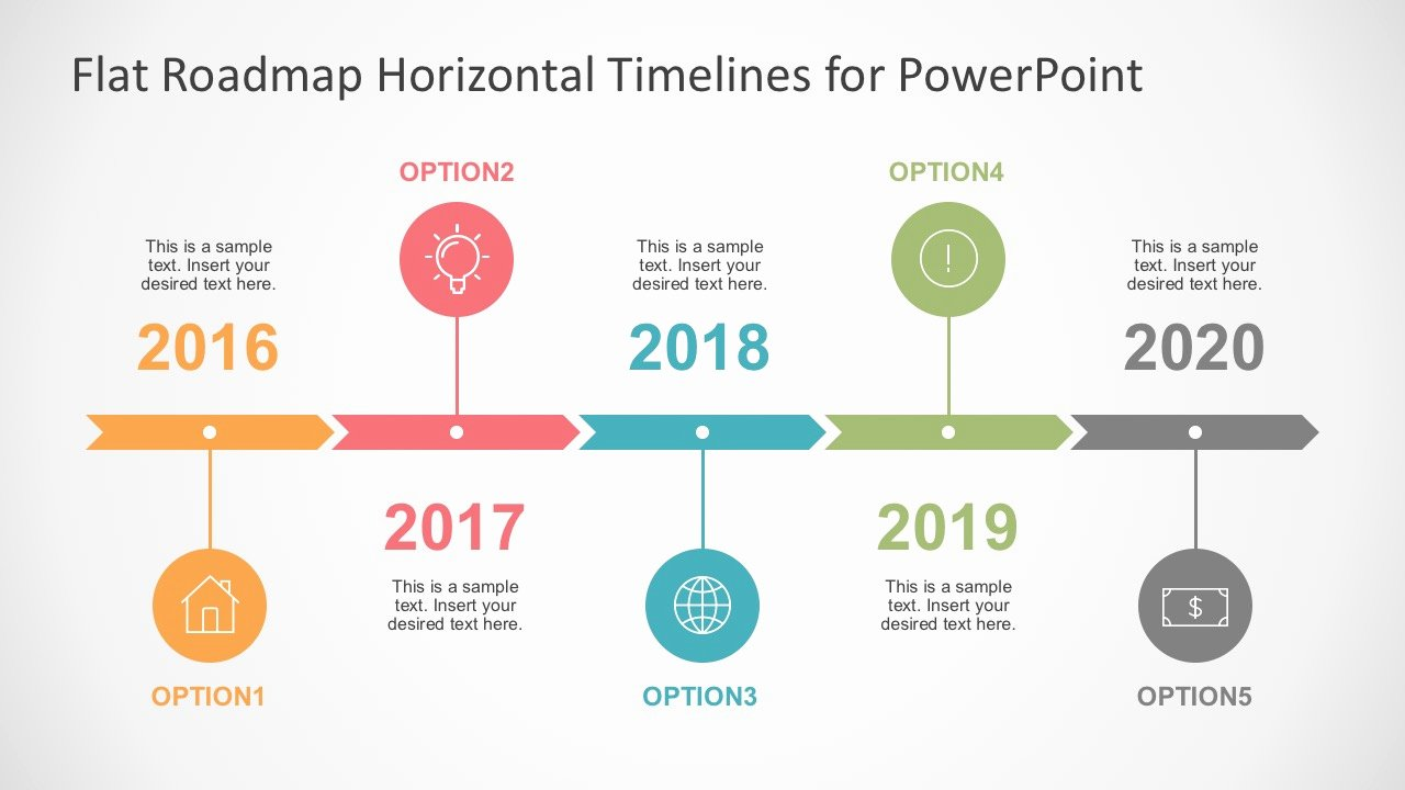 Flat Timelines Powerpoint Templates