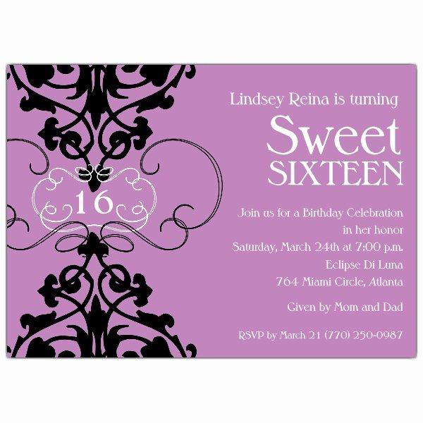 Fleur Lavender Sweet 16 Invitations