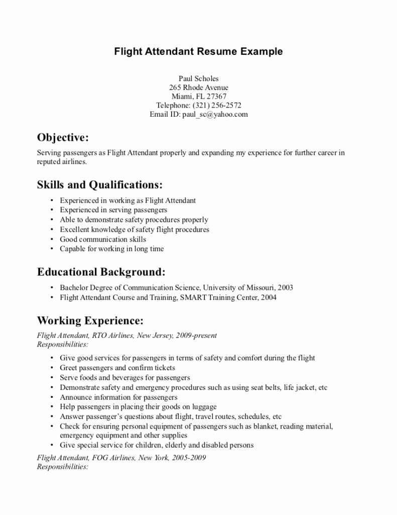 Flight attendant Cover Letter Sample Resume Job Objective