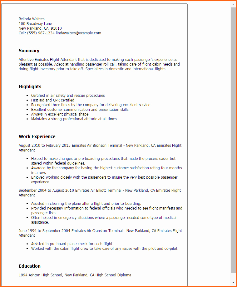 Flight attendant Resume Bud Template Letter