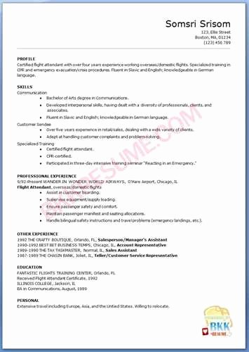 Flight attendant Resume Objective 1