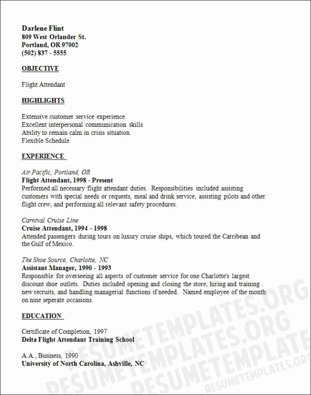 Flight attendant Resume Sample