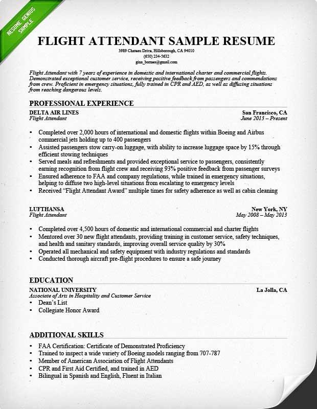 Flight attendant Resume Sample & Writing Guide