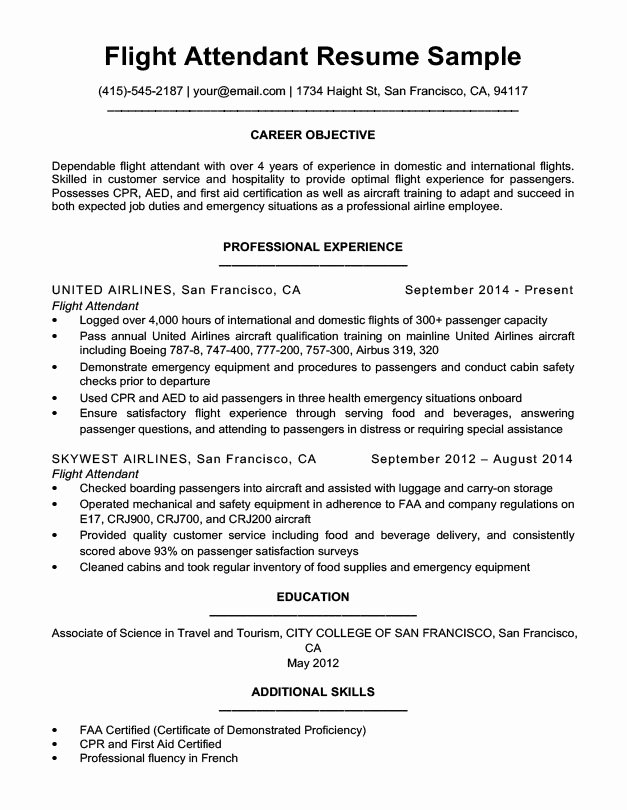 Flight attendant Resume Sample & Writing Tips