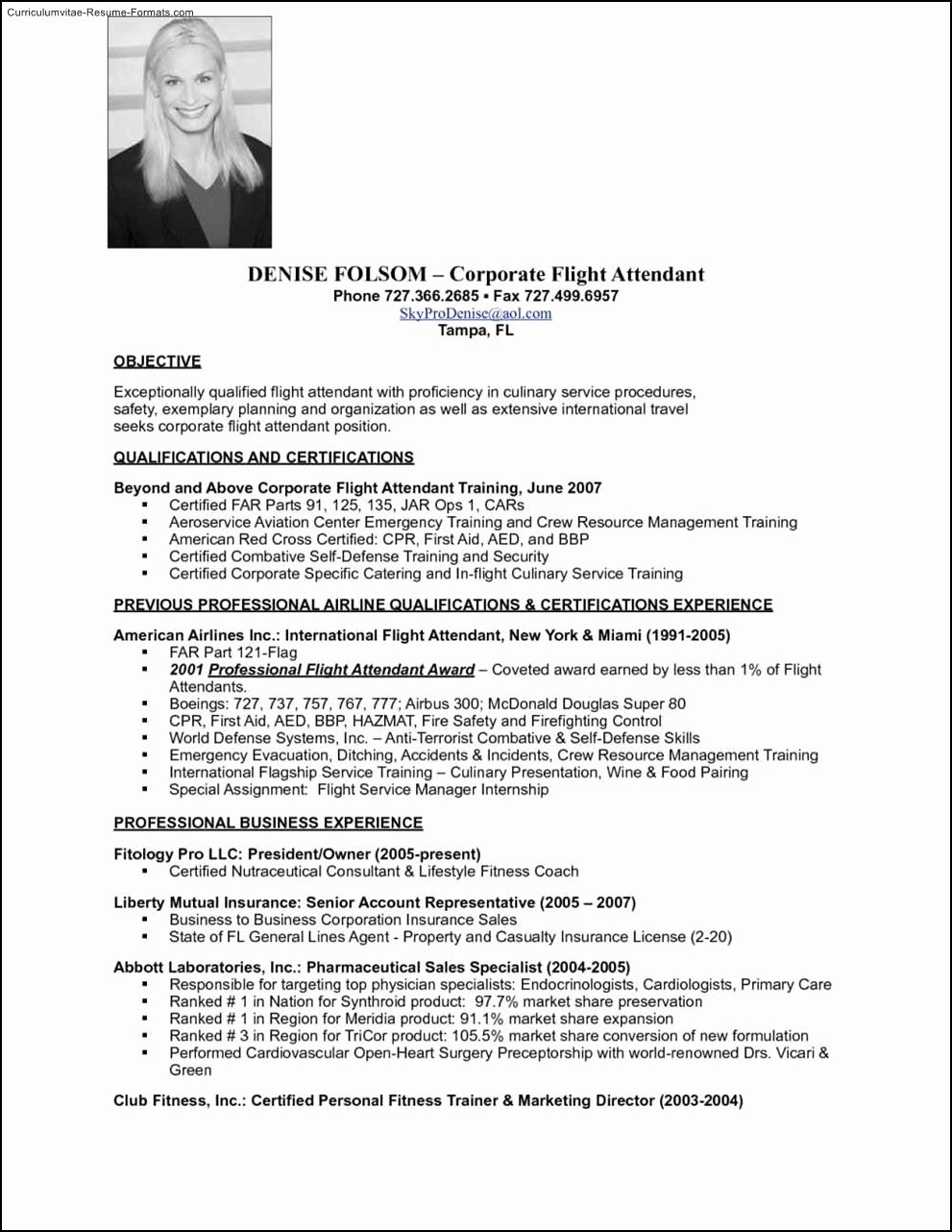 Flight attendant Resume Template Free Samples Examples