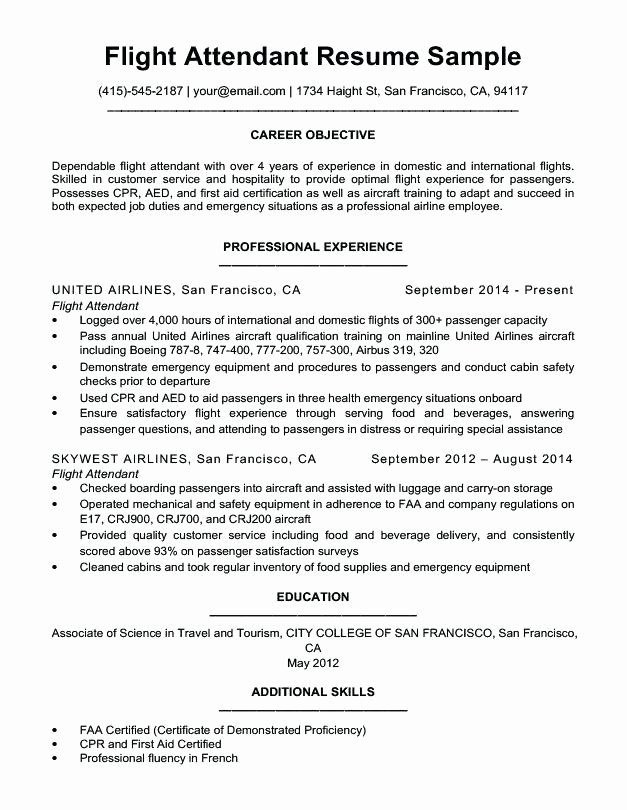 Flight attendant Resume Template No Experience Dess Smith
