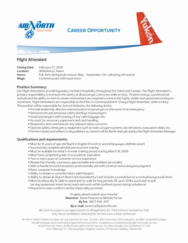 Flight attendant Resume Template Resume Sample Sample