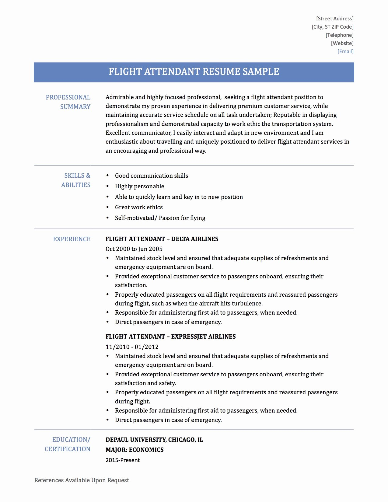Flight attendant Sample Resume Tips & Templates for Cabin