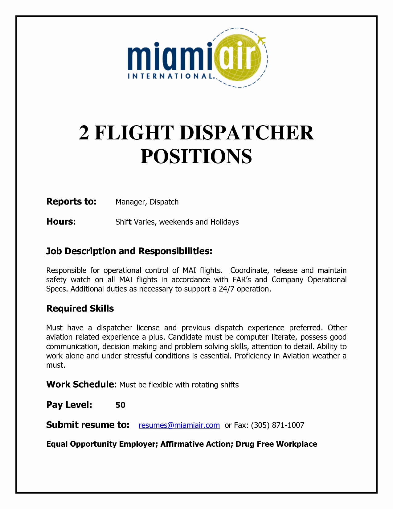 flight dispatcher resume sample