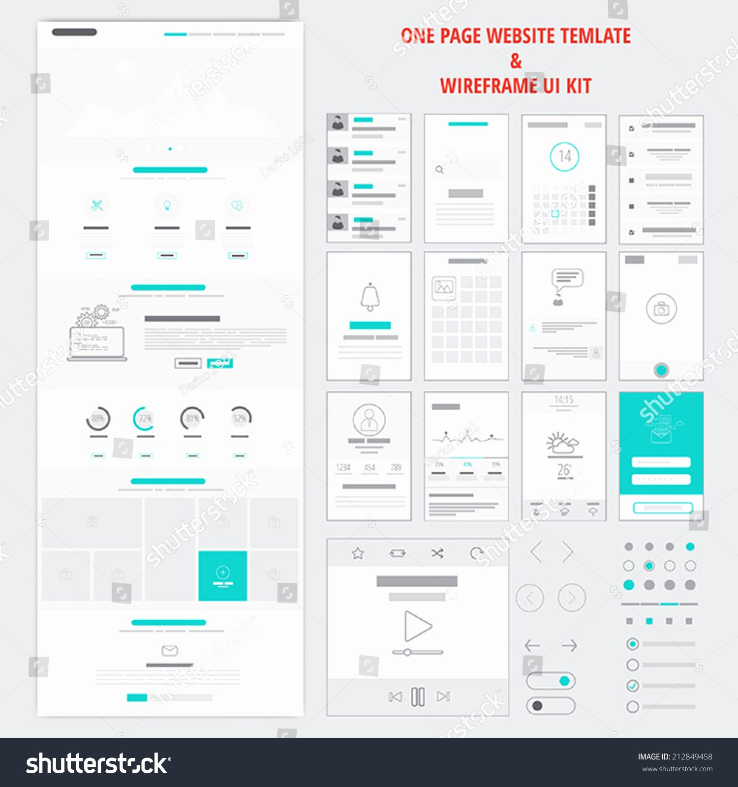 Fllat Responsive E Page Website Template Stock Vector