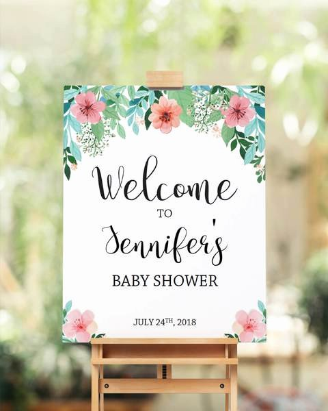 Floral Baby Shower Wel E Sign Template