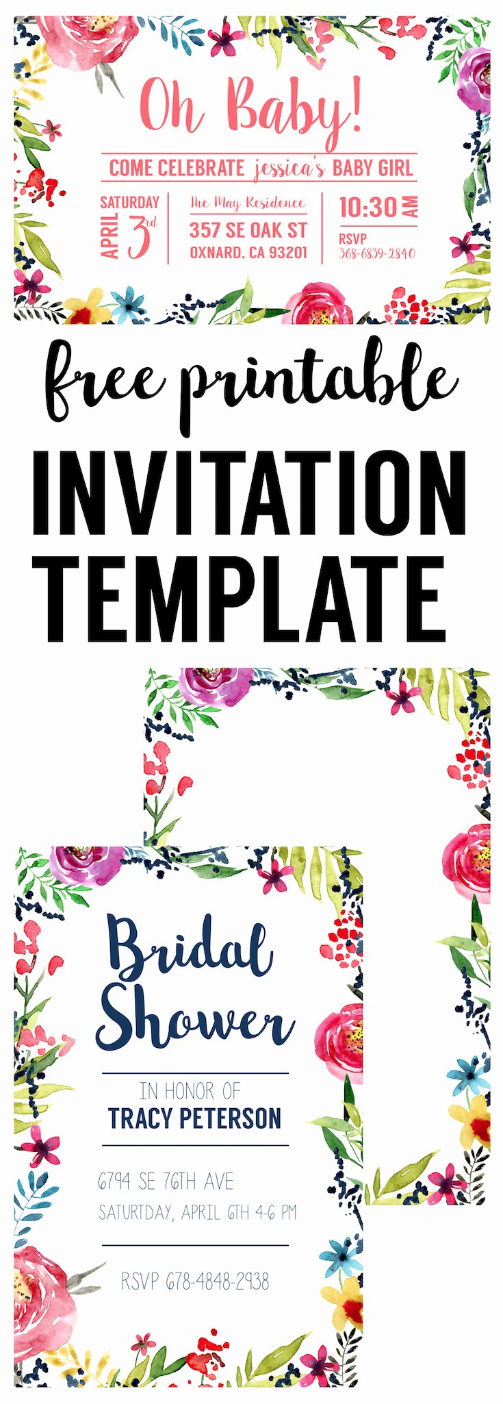 Floral Borders Invitations Free Printable Invitation