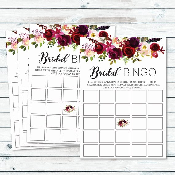 Floral Bridal Shower Blank Bingo Cards Bachelorette Bingo