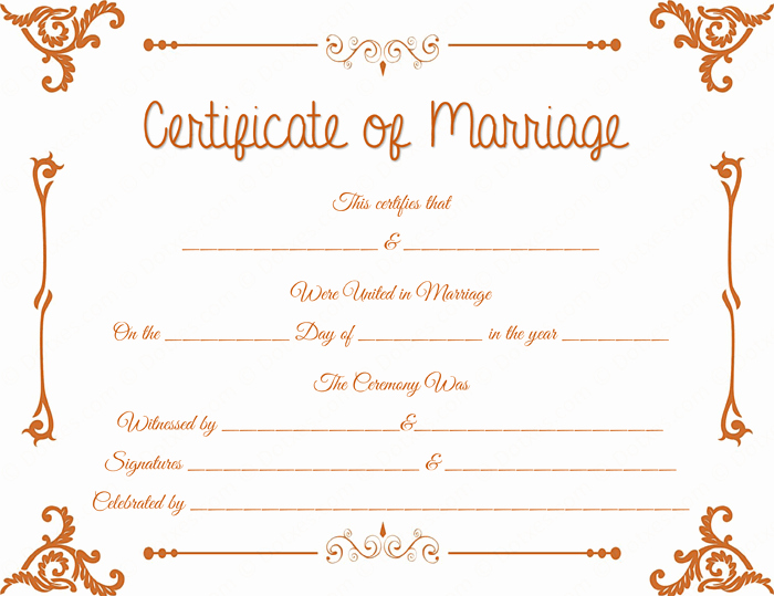 Floral Corner Marriage Certificate Template Dotxes