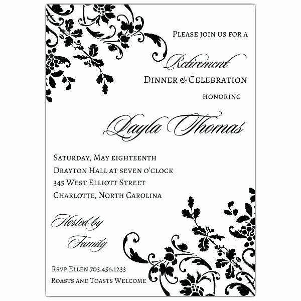 Floral Stripe Retirement Invitations