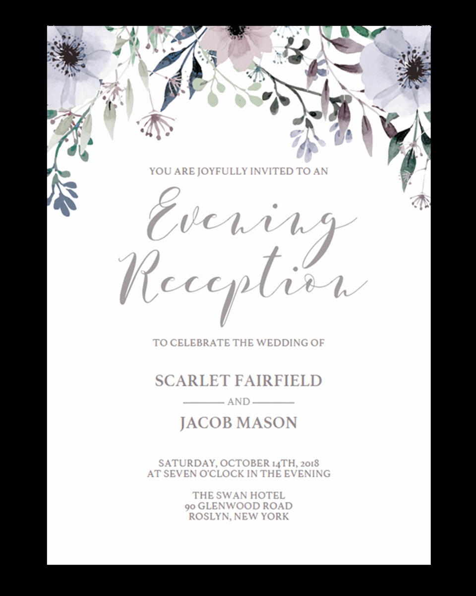 Floral Wedding evening Reception Invite Template