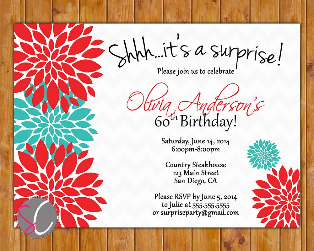 Floral with Surprise Birthday Invitation Template