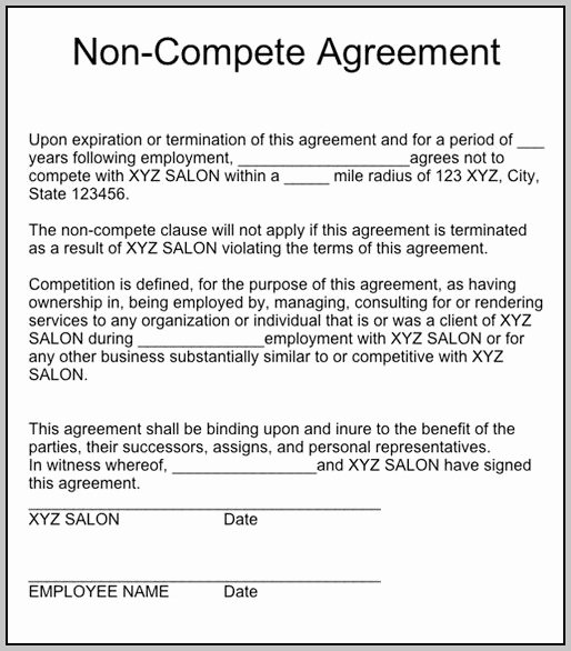 Florida Non Pete Agreements Gallery Agreement Letter
