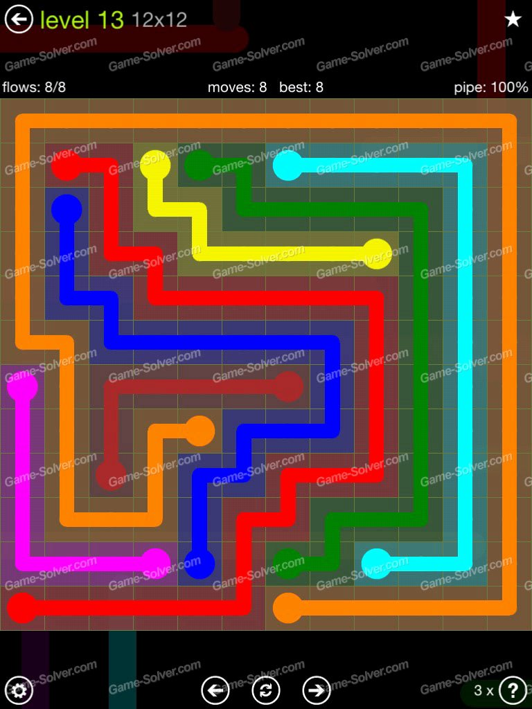 Flow Extreme Pack 12×12 Level 13 Game solver