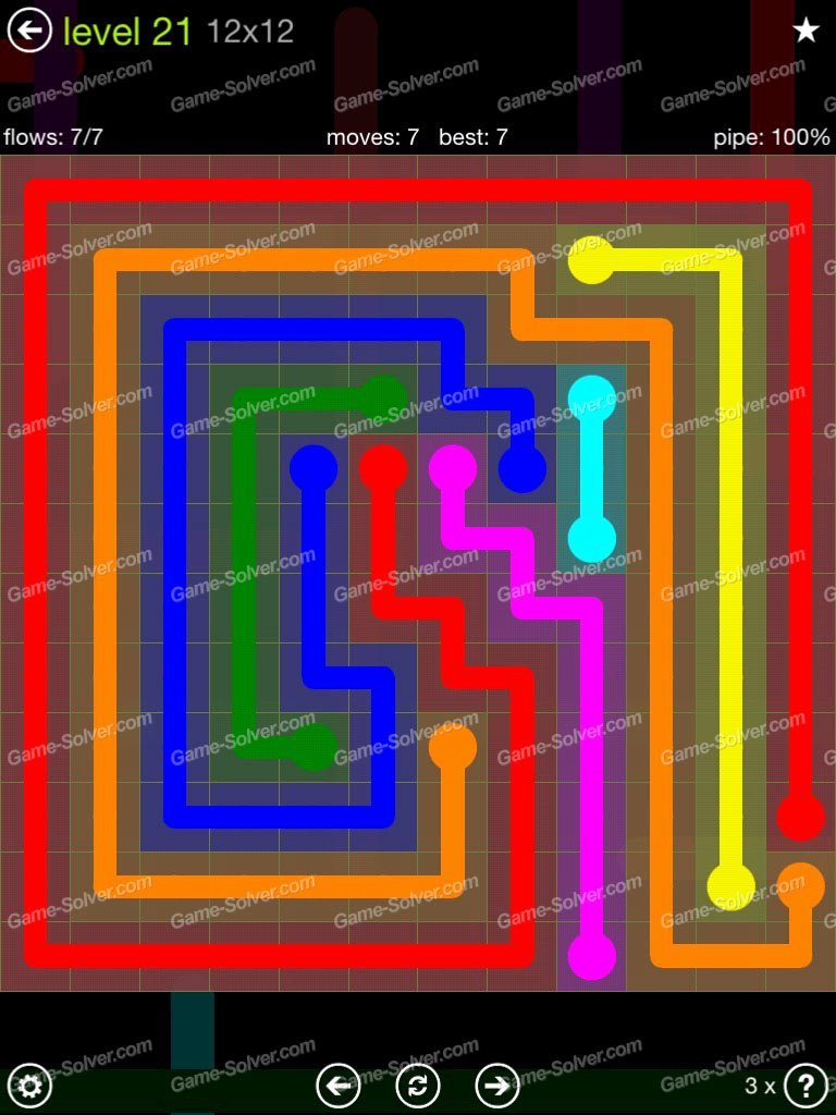 Flow Extreme Pack 12×12 Level 21 Game solver