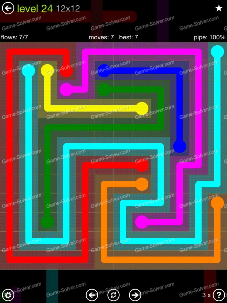 Flow Extreme Pack 12×12 Level 24 Game solver