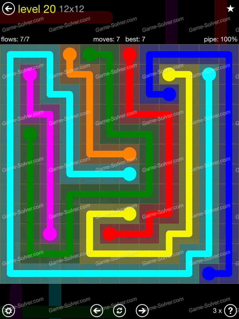 Flow Extreme Pack 2 12×12 Level 20 Game solver