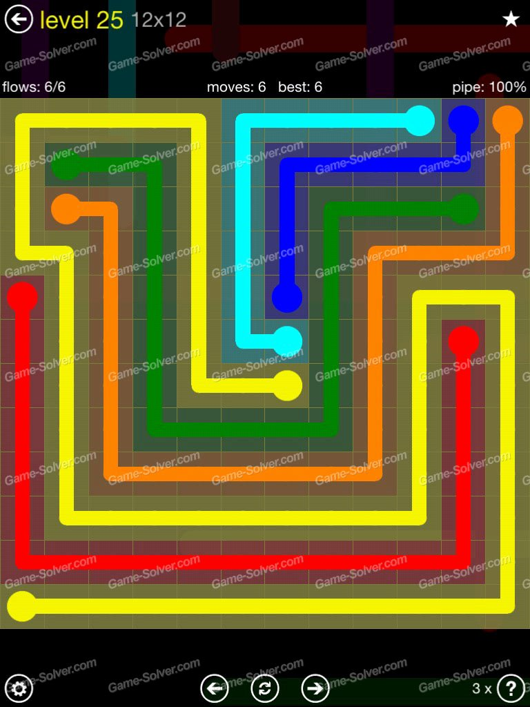 Flow Extreme Pack 2 12×12 Level 25 Game solver