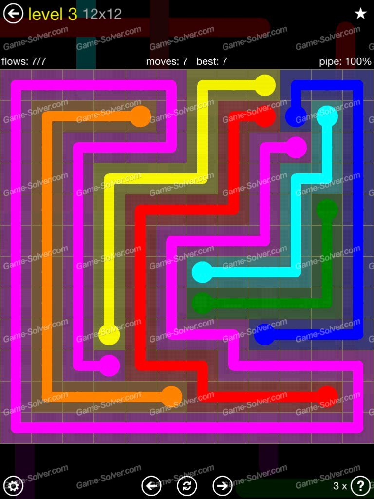 Flow Extreme Pack 2 12×12 Level 3 Game solver