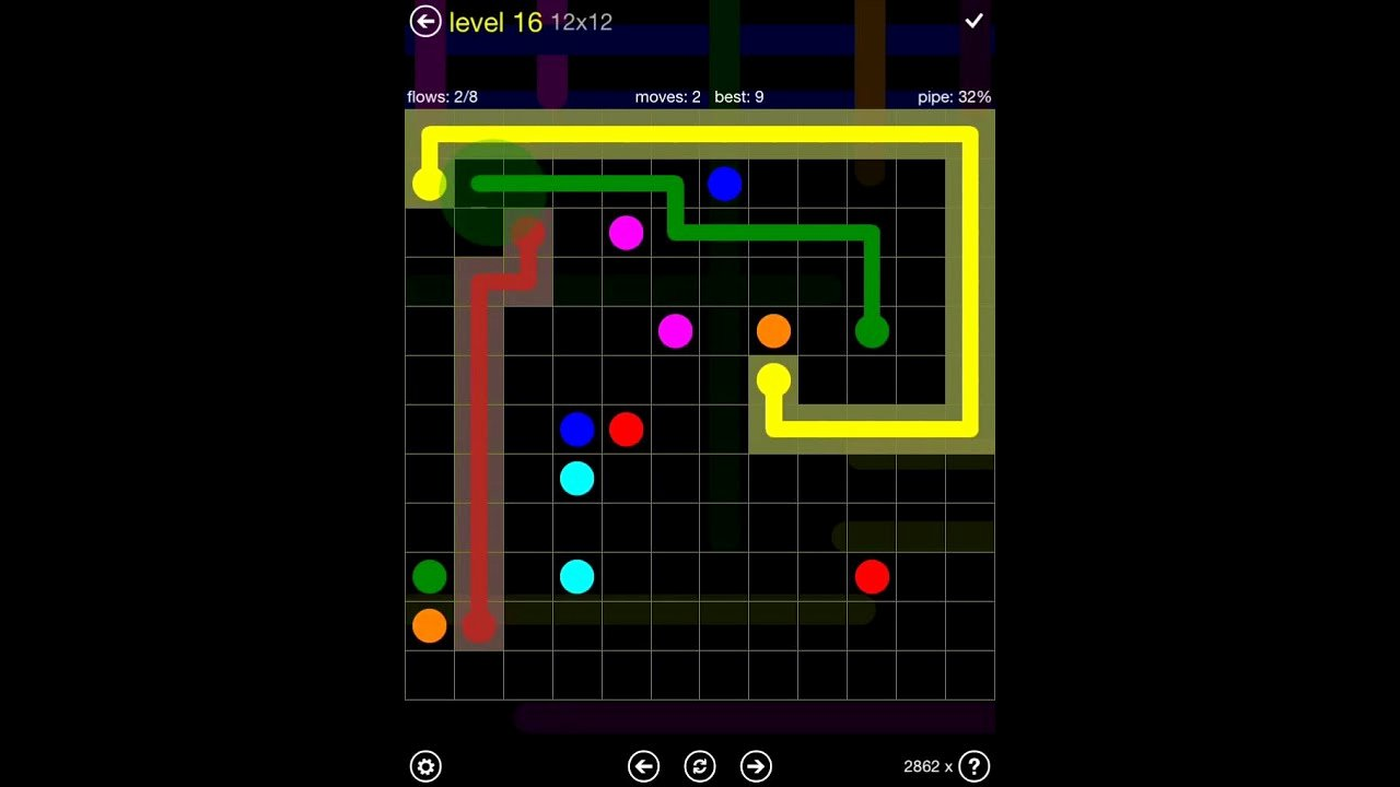 Flow Free Extreme Pack 2 12x12 Level 16