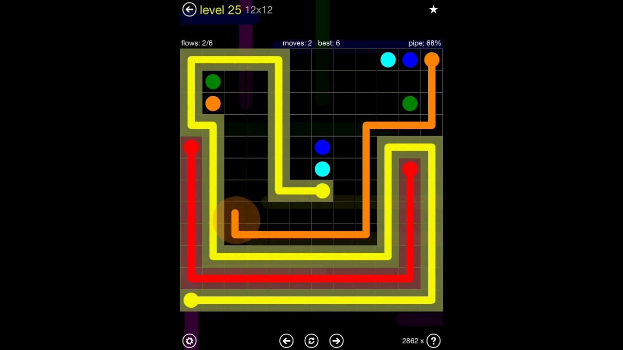 Flow Free Extreme Pack 2 12x12 Level 25