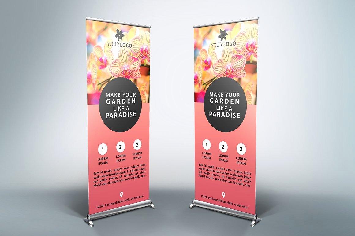 Flower Roll Up Banner Sb Flyer Templates Creative Market