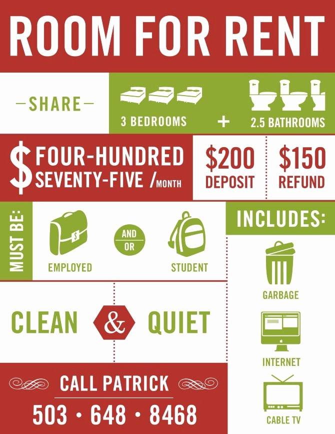 Flyer Idea Room for Rent Home Design