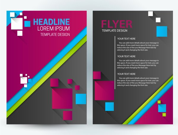 Flyer Template Design with Squares Illustration Free